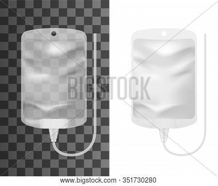 Intravenous Iv Therapy Bag 3d Mockups. Vector Infusion Drip With Empty Clear Container Realistic Tem