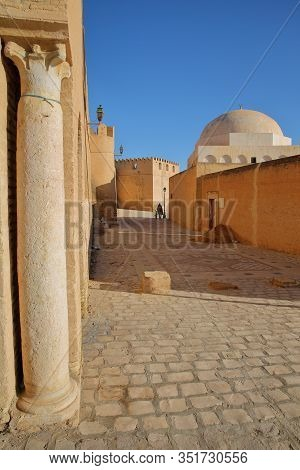 Impressive And Colorful Ramparts, Located At The Eastern Side Of Kairouan, Tunisia, With A Cobbled P