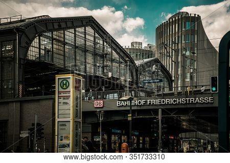 Berlin / Germany - 13 May 2019:  Friedrichstrasse Berlin  S-bahn Station