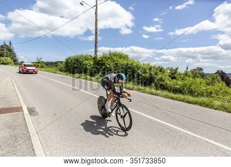 Bourgoin-jallieu, France - 07, May, 2017: The Welsh Cyclist Luke Rowe Of Team Sky Riding During The