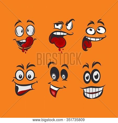Cartoon Faces With Different Expressions, Mostly Happy And Smiling, Featuring The Eyes And Mouth