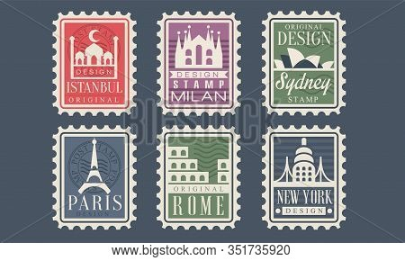 Collection Of City Stamps From Different Countries With Architectural Landmarks, Istanbul, Milan, Sy