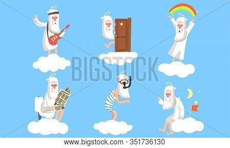 Collection Of Elderly Male Angel Comic Character In Different Situations, Activity Of Holy Funny Old