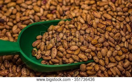 Raw Beans Supermarket Product Shot Food Photography Background Counter With Weighted Spoon Concept P