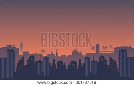 City Silhouette With The Atmosphere At Dusk.