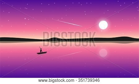 Lonely Fisherman On A Lake In The Moonlight Against A Pink-purple Starry Sky. Vector Illustration.