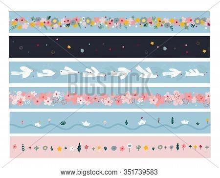 Fancy Flowers Paper Boat Bird Illustration Boarder Washi Tape Ribbon Stationary Template Set. Spring