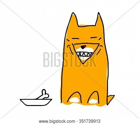 A Red Dog Similar To A Fox, Similar To A Dog Of The Akita-inu Breed. The Dog Is Happy And Smiles, Sh