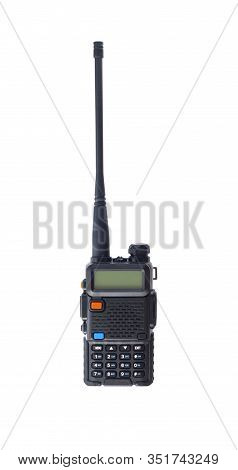 Hand-held Portable Radio Set Or Walkie-talkie With Antenna Isolated On White Background