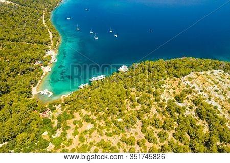 Croatia, Nature Park Telascica On Dugi Otok Island, Adriatic Sea, Aerial View Of Beautiful Blue Bay,