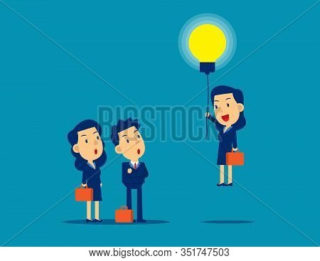 Flying Out From The Crowd By Light Bulb Of Ideas. Concept Kid Business Successful Vector Illustratio