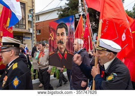 Anapa, Russia - May 9, 2019: Representatives Of The Communist Party Of Russia At A Festive Processio