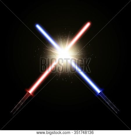 Two Crossed Light Swords. Red And Blue Laser Sabers As A Concept Of The Good Versus Evil Fight