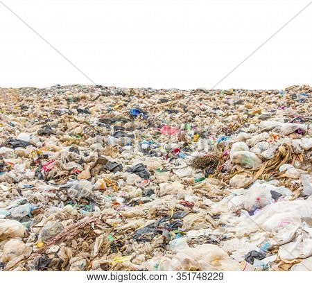 Garbage Dump Pile In Trash Dump Or Landfill,truck Is Dumping The Gabage From Municipal,garbage Dump