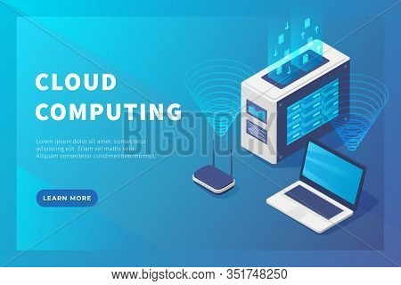 Cloud Computing Concept Server Database With Laptop And Database For Website Template Or Landing Hom