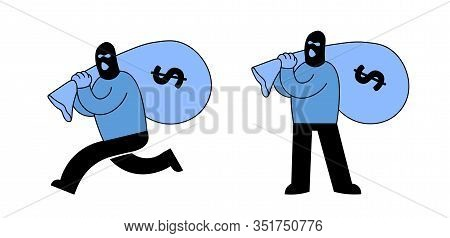 Masked Thief Or Bank Robber Carrying A Sack Of Money And Running Away, Cartoon Character Set Of Two.