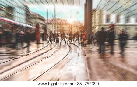 Urban City View Of People Crowd Walking Outside Of Bus Station - Concept Of Modern, Rushing, Urban,