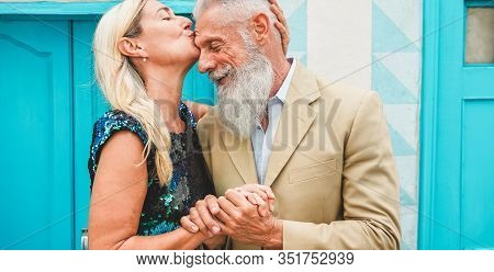 Happy Senior Couple Having Tender Moments Outdoor - Mature People Enjoying Time Together - Love, Fas