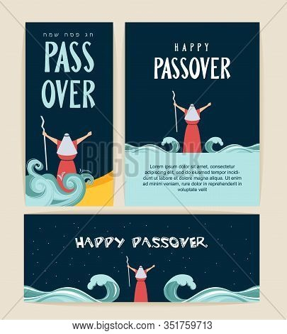 Passover Banner And Card. Moses Separate Sea For Passover Holiday Over Night Background, Flat Design