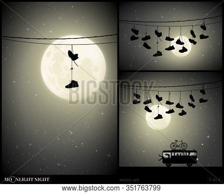 Set Of Vector Illustration With Silhouettes Of Old Shoes Hanging On Power Lines On Moonlit Night. Sn