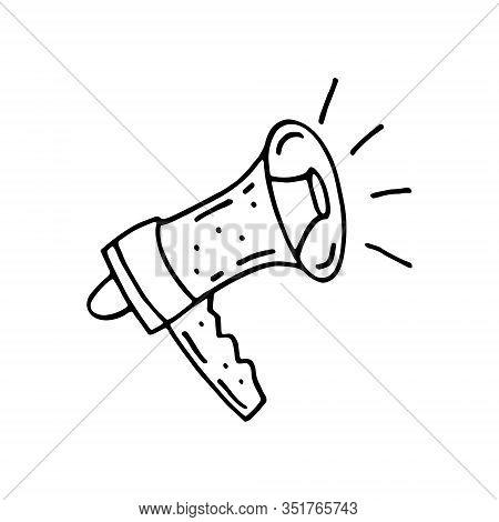 Speaking Trumpet Loud-hailer  Doodle Speaker Hand Drawn Vector Illustration, Sticker, Icon, Design E