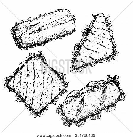 Hand Drawn Sketch Style Sandwiches Set. Top View. Submarine, Ciabatta, Triangle And Rectangular Sand