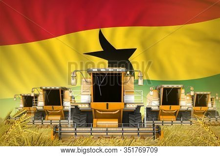 Industrial 3d Illustration Of Some Yellow Farming Combine Harvesters On Rye Field With Ghana Flag Ba