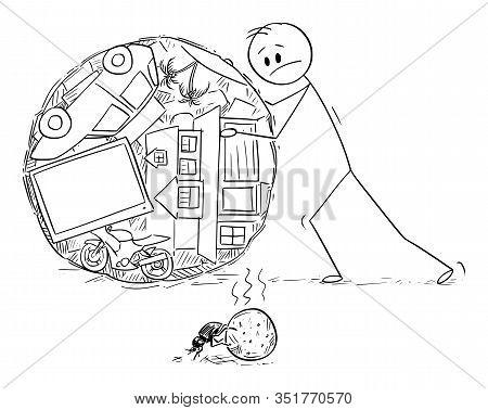 Vector Cartoon Stick Figure Drawing Conceptual Illustration Of Superficial Man Or Businessman Rollin