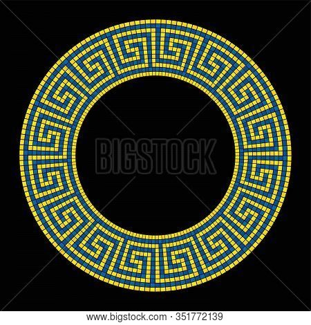 Circle Shaped Meander Mosaic, Frame In Yellow And Blue. Frame With Seamless Meander Pattern. Constru
