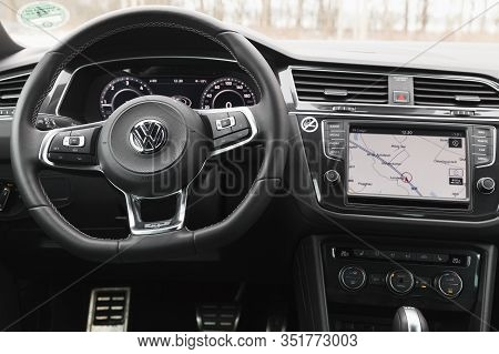 Hamburg, Germany - February 10, 2017:  Interior Of Second Generation Volkswagen Tiguan, 4x4 R-line.