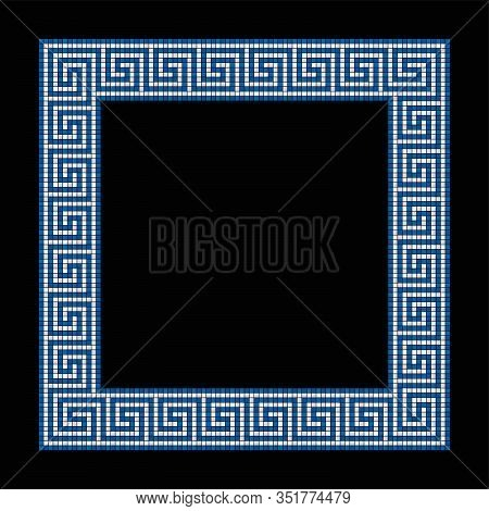 Square Shaped Meander Mosaic, Frame In Blue And White. Frame With Seamless Meander Pattern. Construc