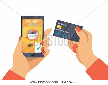 Online Delivery Payment And Mobile Banking Concept. Online Payment Process For Delivery Service By C