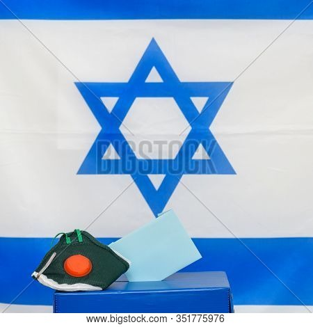 Elections Israel. Bacterial Respiratory Face Mask In A Box For Ballot In Election On Israel Flag Bac
