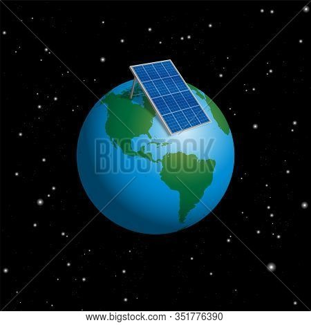 Planet Earth With Solar Plate Collector Or Photovoltaic Panel To Supply The Whole World With Electri