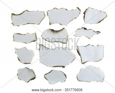 Collection Of Burnt Papers. Burnt Notebook Sheet. Sheet In A Cage. Isolated On A White Background. V