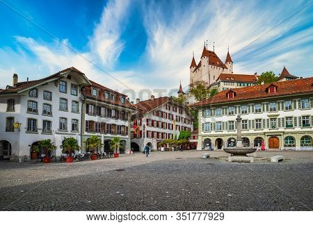 Amazing View Of City Hall Square And Castle Of Thun, Switzerland Under Picturesque Sky