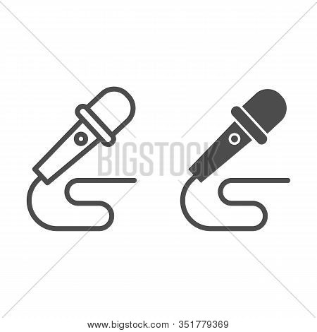 Microphone And Wire Line And Solid Icon. Party Mike With Cable. Birthday And Anniversary Entertainme