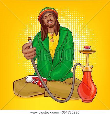 Pop Art Male Character - Rasta Guy With Dreadlocks Suggests Hookah. Man From Jamaica In Green Jacket