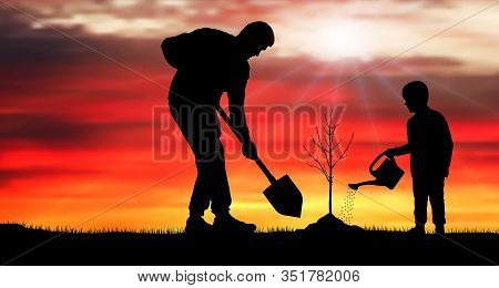 Tree Planting. Father And Son Plant Tree. Silhouette Vector Illustration