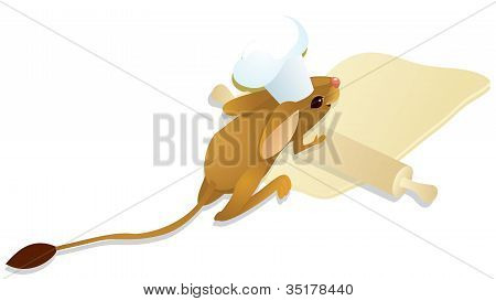 cook jerboa unrolls dough. The vector color illustration poster