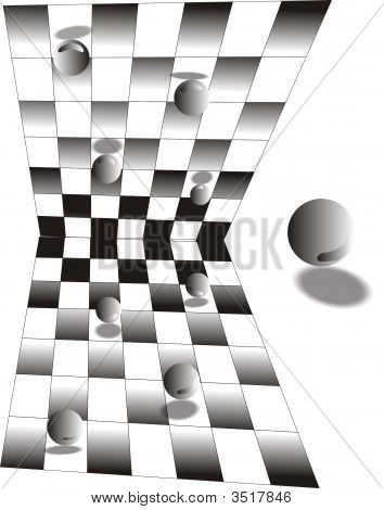 Reflections Of Balls On A Checker Board