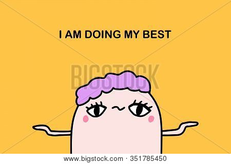 Affirmation I Am Doing My Best Hand Drawn Vector Illustration In Cartoon Comic Style Man Violet Hair