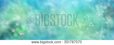 Abstract Turquoise Blue Luminous Background. Blurry Nature View In Spring. Flower Dust In Landscape.