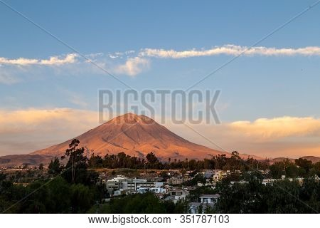 Arequipa, Peru - October 20, 2015: View Of The Misti Volcano As Seen From The Yanahuara Viewpoint