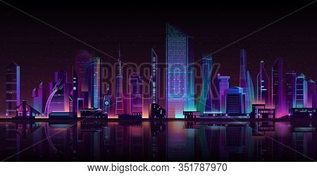 Night City Street Shrouded In Darkness Cartoon Background. Metropolis Skyscrapers Towers, Town Build