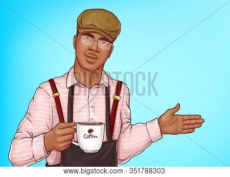 Male Barista Pop Art . African-american Man In Pink Shirt, Cap And Apron Holding Cup Or Mug Of Fresh