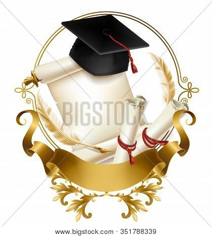 College Or School Emblem 3d Realistic . Graduation Hat On Blank Parchment Scroll Of Diploma Or Quali