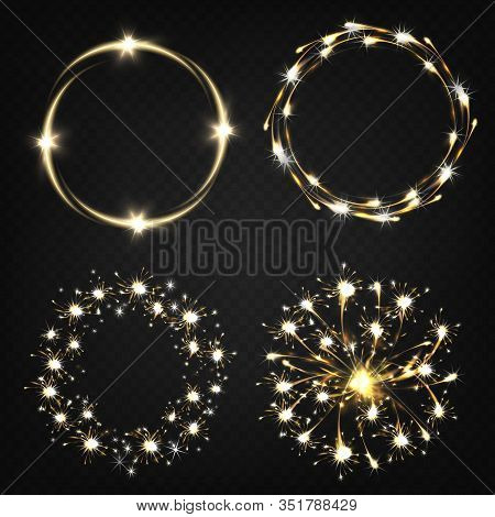 Sparklers From Burning Sparkler, Pyrotechnics Effects, Magical Lights Moving In Circle Realistic Set
