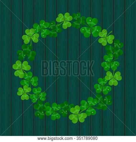 Saint Patricks Day Vector Frame With Green Shamrock