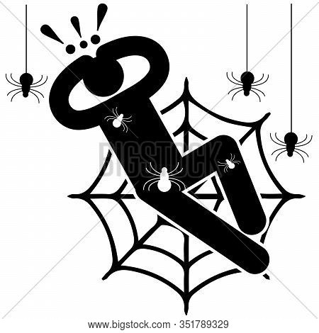 Arachnophobia. Fear Of Spiders. Phobia. Crawling Spiders. Entangled In The Web. Afraided Man. Logo,